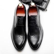 QYFCIOUFU Genuine Cow Leather Business Splice Brogue Shoes Men Designer Dress Shoes Black Red Wine Lace-up Retro Oxford Shoes