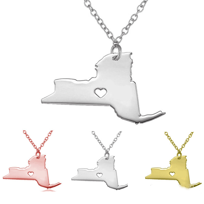 Newly 316L Stainless Steel The State Of New York Map Necklace American Pendant With Hollow Heart Map Necklace Jewelry