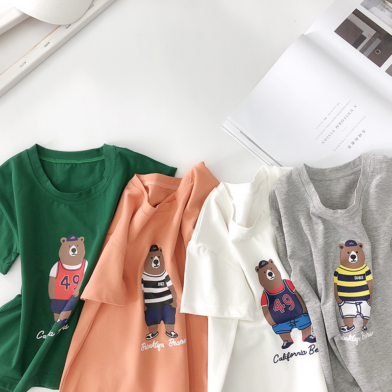 Girls T Shirt Fashion Cartoon Print Short Sleeves Shirts Tops for Boys Toddler Tshirt 2 3 4 5 Years Kids Clothing Summer 2019
