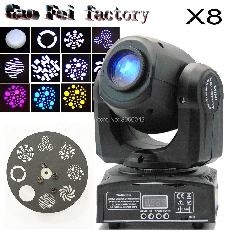 8pcs/lot DMX mini gobo projector spot led moving head 10W Party disco ktv stage light цена