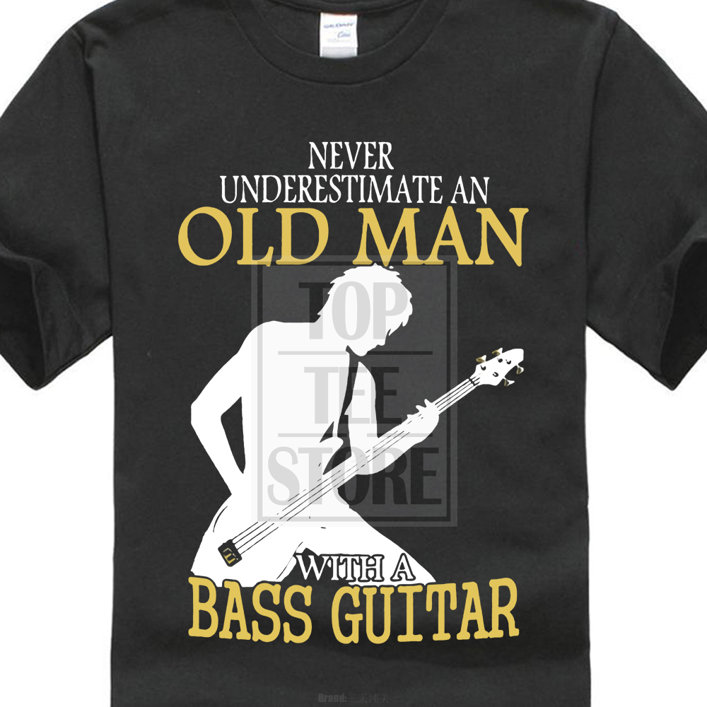 Fashion 100% Cotton T Shirt Short Funny Crew Neck Mens Never Underestimate An Old Man Bass Guitar T Shirt