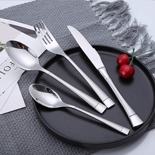 4PCS Cutlery Flatware Set Matte Handle 18/10 Stainless Steel Knife Fork Spoon Tableware Set Kitchen Home Party Wooden Gift Box
