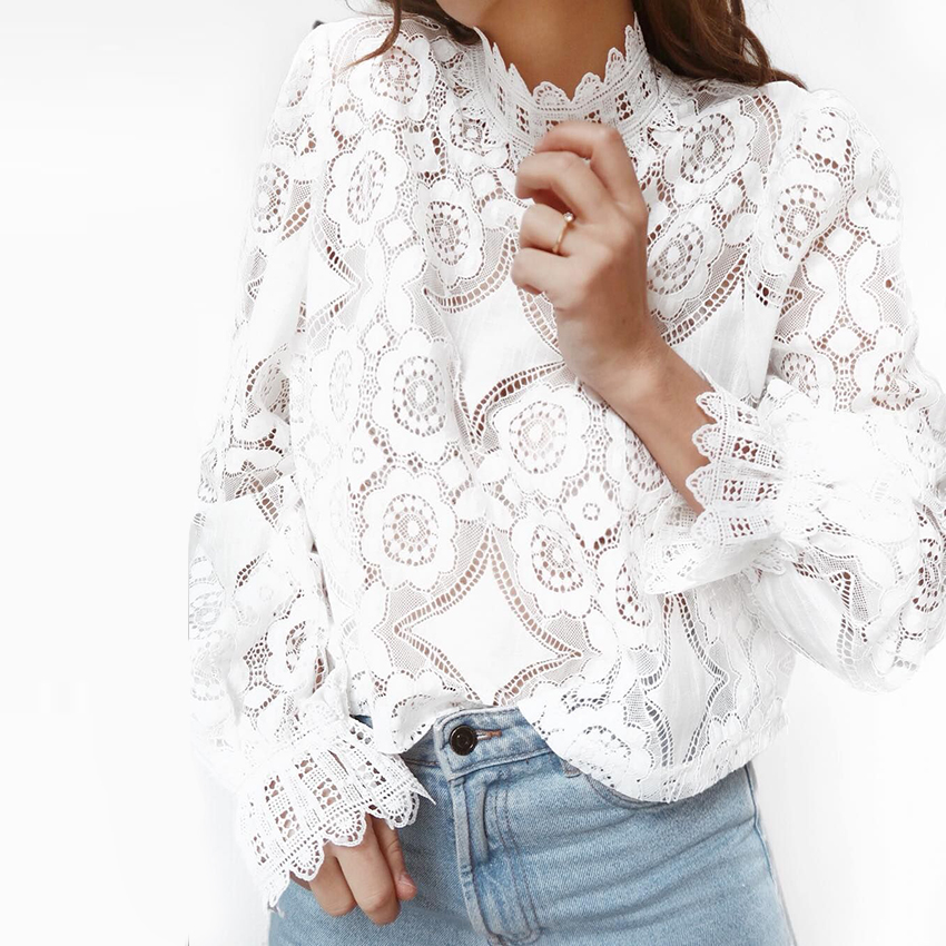 2019 fashion Summer White Lace Blouse Shirt Women High Street Petal Sleeve Blouses Female Casual Long Sleeve Tops Chemisier