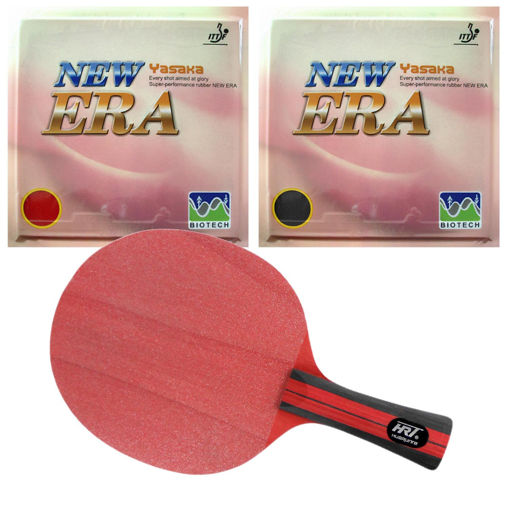 Original Pro Table Tennis Combo Racket HRT Red Crystal Blade with 2x Yasaka ERA-40mm NO ITTF Rubbers Long Shakehand FL pro combo racket galaxy yinhe t 11 blade long shakehand fl with yasaka era balance no ittf and spin no ittf rubbers