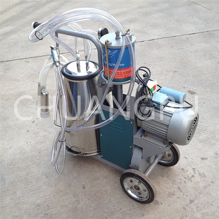 Labor Saving,Best Price Piston Pump Mobile Cow Milking Machine with Stainless Steel Single Bucket