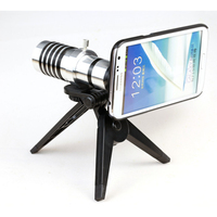Mobile Phone HD 12x Telephoto Lens Wide Angle Metal Sliver Zoom Camera Phone Lens For Phone