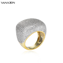 Finger-Ring Micro-Paved Zircon Jewels Gold-Color Men for New-Design Big Shiny Gift 800pieces