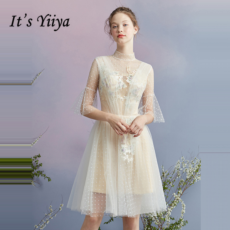 It's YiiYa   Cocktail     Dress   2018 Party Half Sleeve Tulle Sexy Backless Fashion Designer Elegant Short   Cocktail   Gowns LX1066