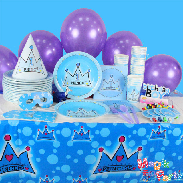 1st Birthday Boy Party Supplies Paper Tableware Plates Cup Tissue Table Cloth Mask Hat Blowout Prince