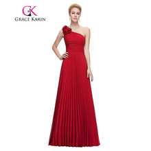 Grace Karin Chiffon Long Evening Dress One Shoulder Pleated Red Green Purple Royal Blue Formal Evening Dress Party Gowns 2017(China)