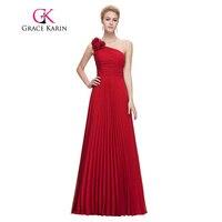 Gnade Karin Chiffon Langes Abendkleid Schulter Gefaltetes Rot Grün Lila Royal Blue Formal Abendkleid Partei-kleid 2017
