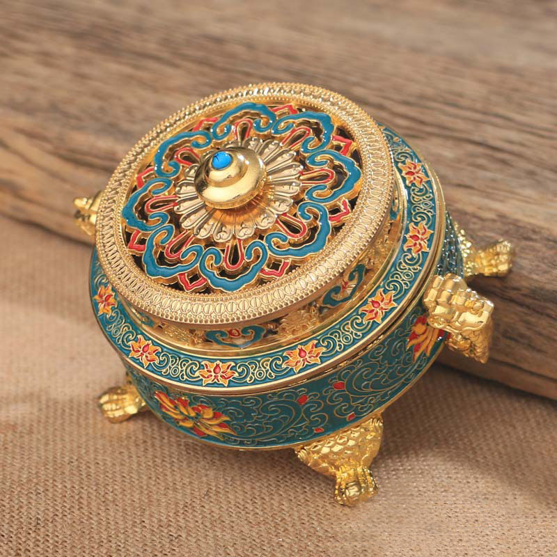 1 Piece Collectibles Tibetan Style Painted Enamel Copper Alloy Coil Incense Burner Holder in Incense Incense Burners from Home Garden