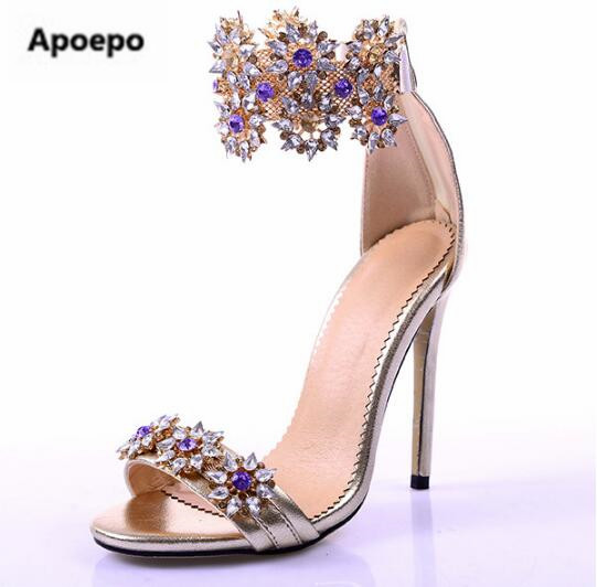 Apoepo brand Hot sandal for woman sexy open toe high heel sandal bling bling crystal embellished wedding shoe ankle strap sandal new fashion big pearls beaded woman flat shoes 2017 sexy open toe sandal crystal embellished slides