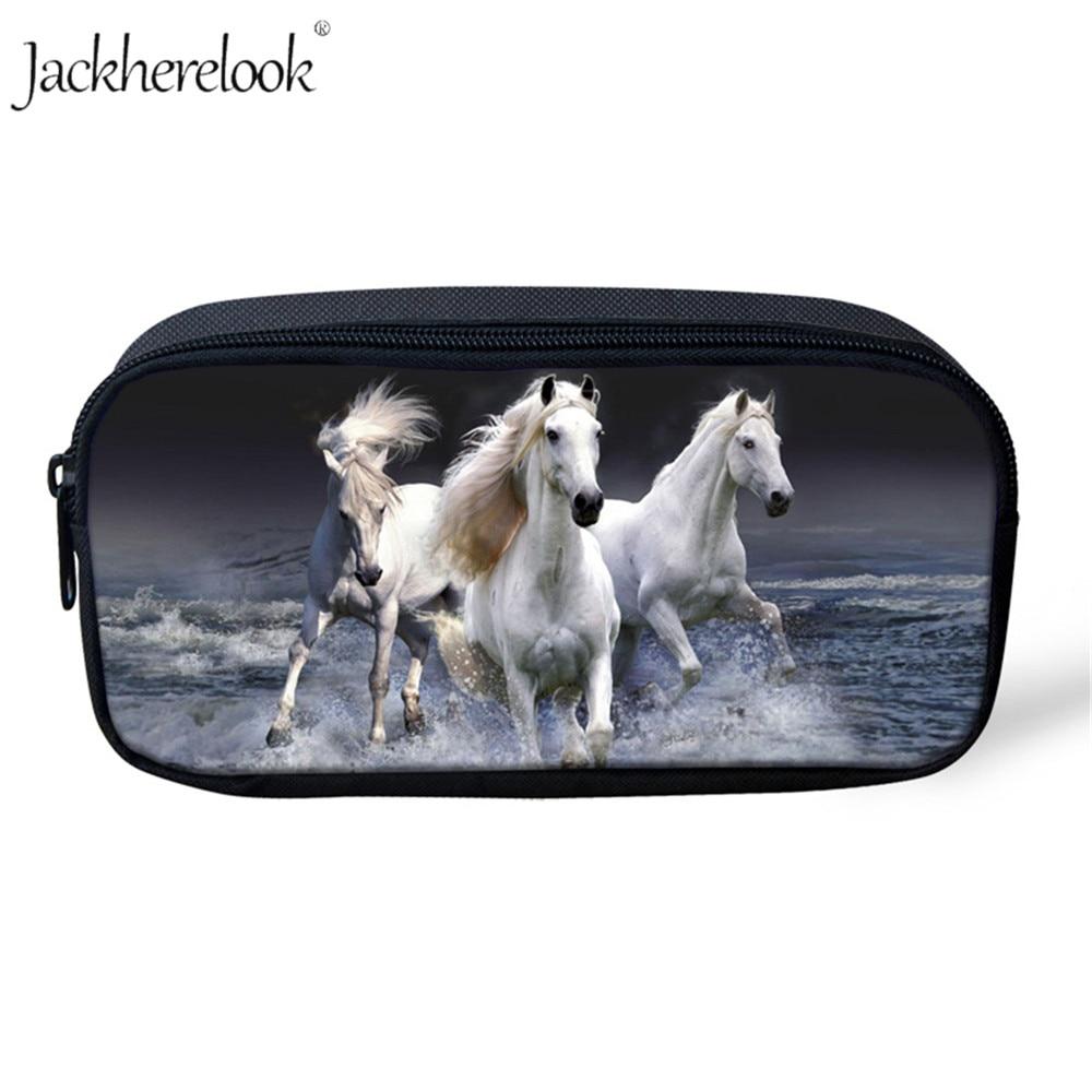Jackherelook Children's Pencil Bag For Children Crazy Horse Animal Print Makeup Case Cosmetic Bag Schoolbags Kids Pencil Cases
