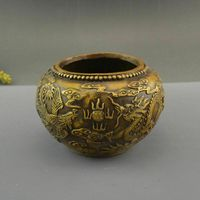 Exquisite Chinese Old Handmade Carving Brass Dragon Phoenix Pot Jar Crock Incense Burner Censer Statue