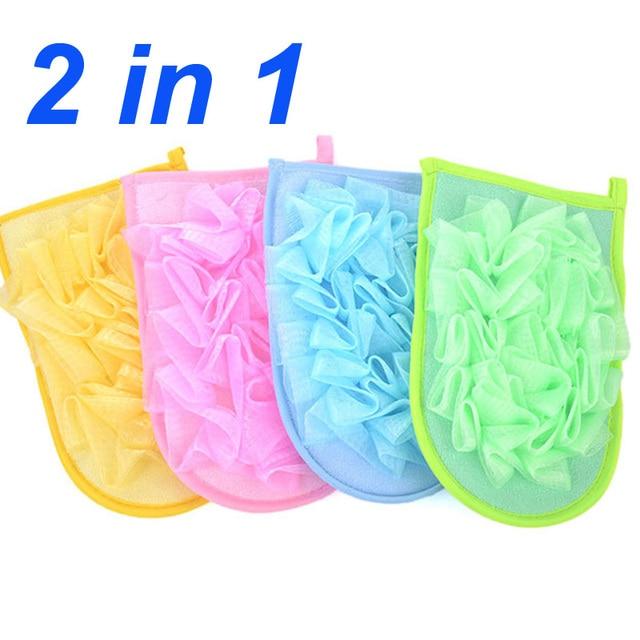 Korean 2 in 1 Exfoliating Shower Bath Gloves Bath Flower+Bath ...