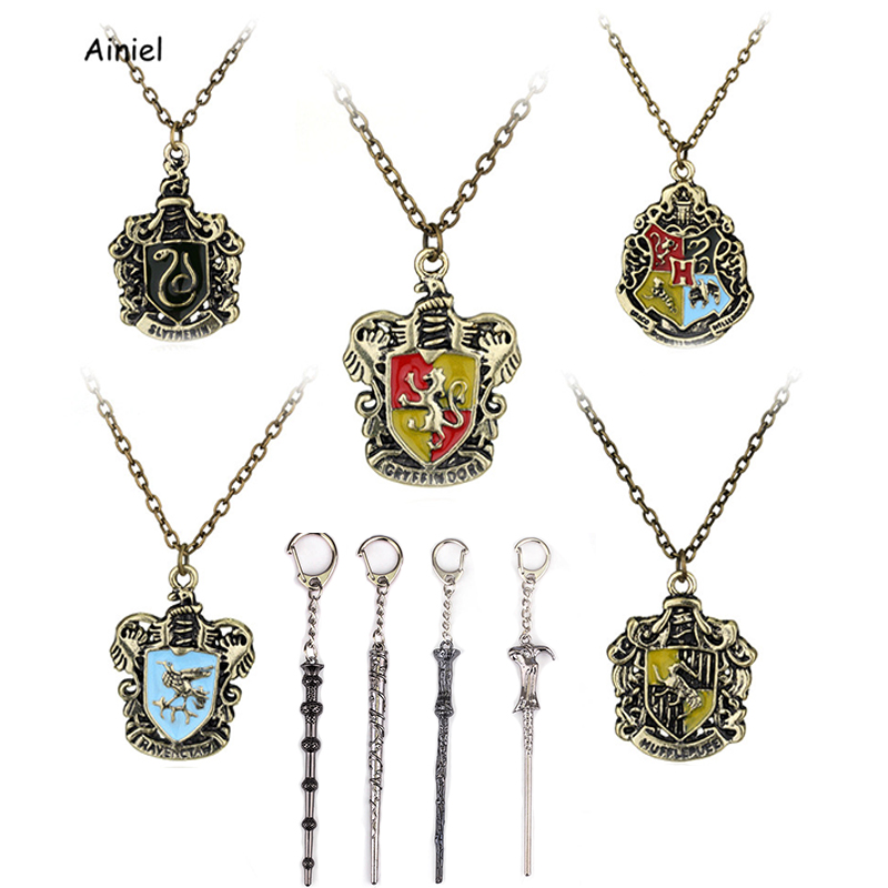 Hermione Necklace Wand Keychain Hogwarts Albus Dumbledore Hufflepuff Prop Gift Cosplay Halloween Party Adult Woman Kids Boys