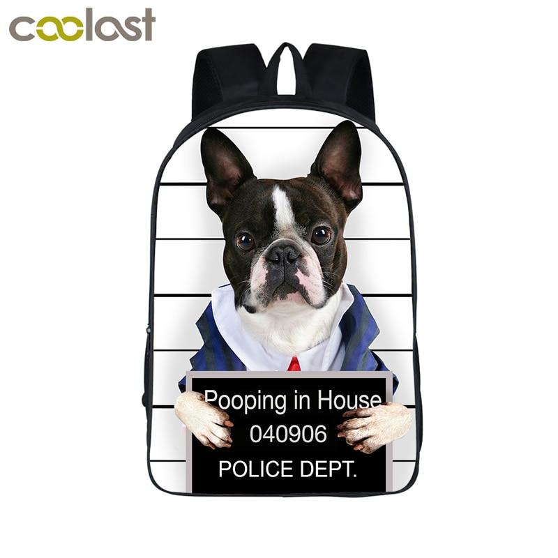 French Bulldog Printing Backpack Boys Girls School Bags Young Men Women Daily Backpack Children Bookbag Shoulder Backpack Laptop