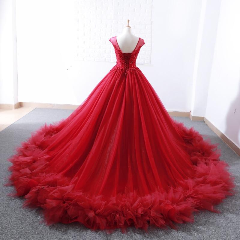 Robe de bal bordeaux mode robe de bal rouge 2018 saoudien Arbaic Design moderne pure dentelle Top Corset élégant robes de bal - 2