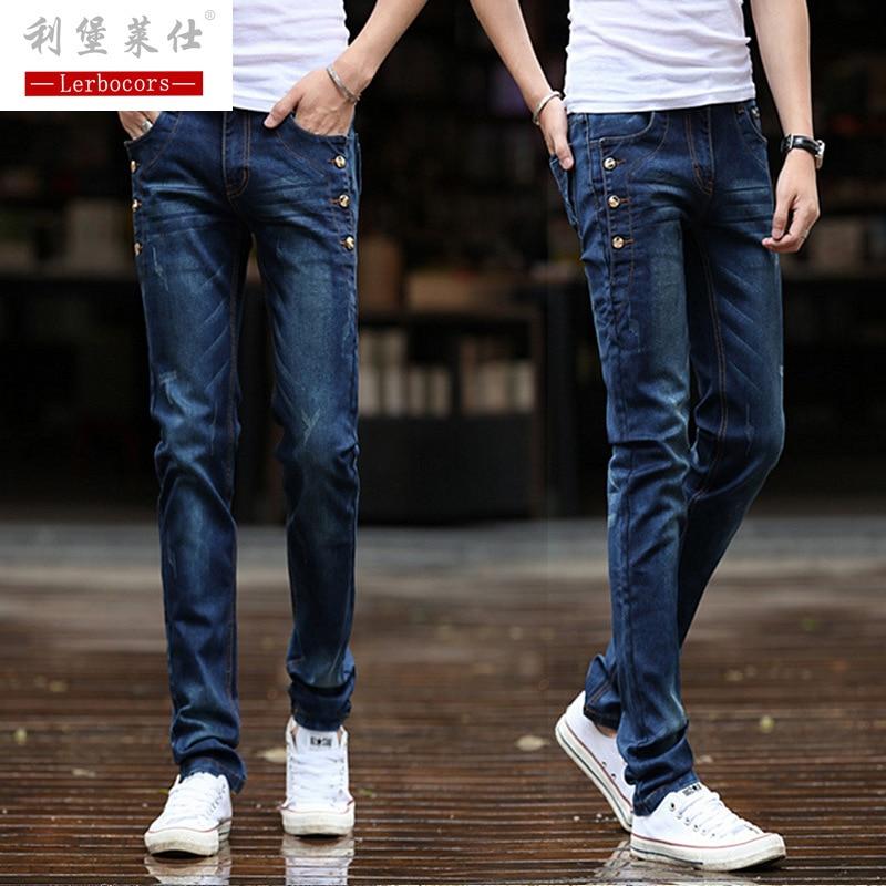 Lerbocors Jeans men slim long pants cotton stretch korean blue thin summer jeans