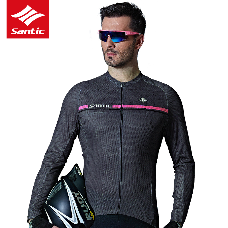 Santic Men's Spring Summer Long Sleeve Cycling Jerseys Road Bike MTB Bicycle Riding Top Jerseys Outdoor Sports Man Coat Clothing