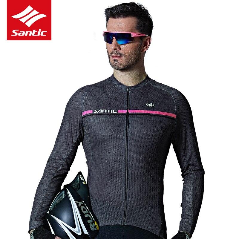Santic hommes printemps été à manches longues maillots de cyclisme vélo de route vtt vélo haut de randonnée maillots Sports de plein air homme manteau vêtements