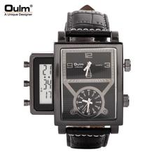 OULM Top Brand Hombres de Lujo Antiguo Reloj Correa de Cuero Reloj Casual Relogio masculino Masculino reloj de Cuarzo de 3 Zonas Horarias
