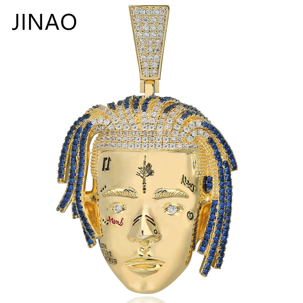 Fashion Cubic Zircon Iced Out Chain Gold XXXTentacion Pendant Necklace Hip Hop Jewelry Statement Necklaces For