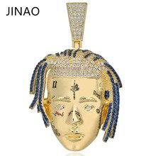 Cadena con diamantes de circonia cúbica para hombre y mujer, colgante collar con XXXTentacion de oro, joyería de Hip Hop, collares llamativos, regalos