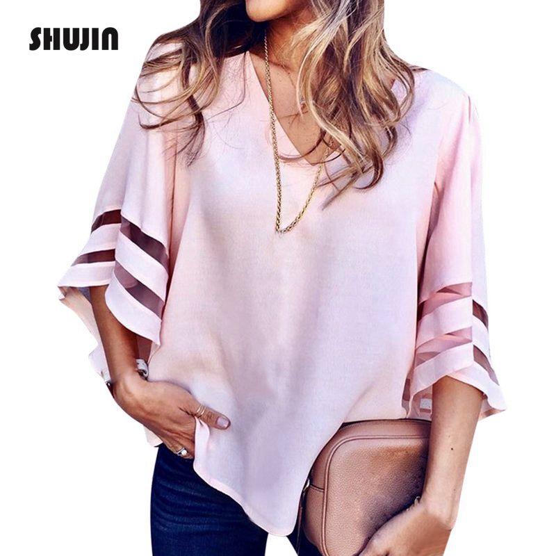 SHUJIN 5XL Plus Size V-Neck Flare Sleeve Mesh Patchwork   Shirts   Women Summer Casual Plus Size   Blouses   White Chiffon Tops Blusas