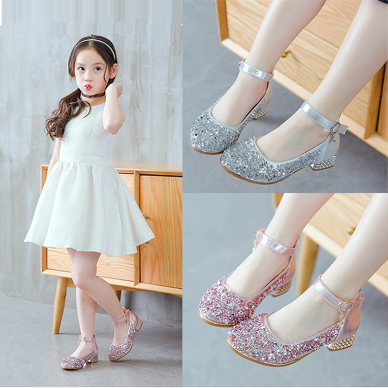Kids Flower Children Little Girls Spring High Heels Sequins Princess Dress Shoes For Girls Wedding And Party Dance Shoes New