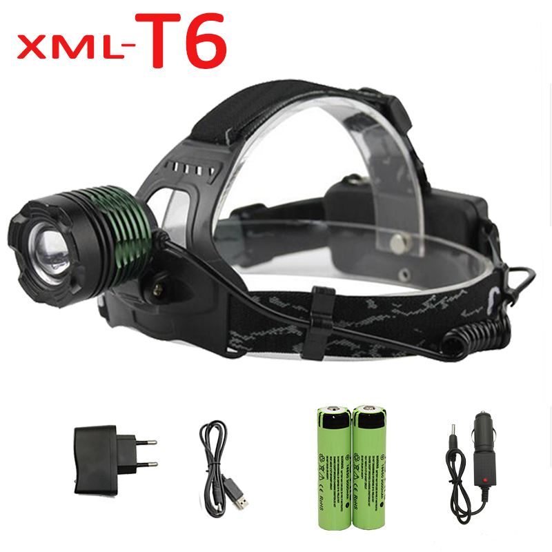 1000LM  XM-L T6 LED Headlamp Adjustable Zoom Headlight Torch Flashlight + 18650 Battery + Charger