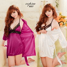 3Pcs full SET Sexy Lingerie nightwear woman lace sleepwear robe bathrobe Robe Pajamas #9057