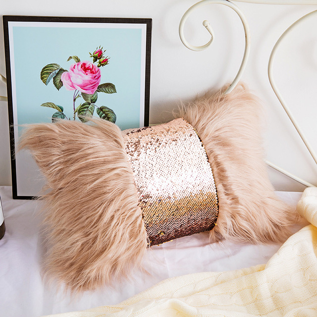 Grey Faux Fur Rectangle Cushion Cover 3