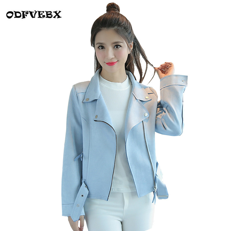 2019 spring new deerskin cashmere Slim short coats female autumn long sleeve suede casual coat jacket