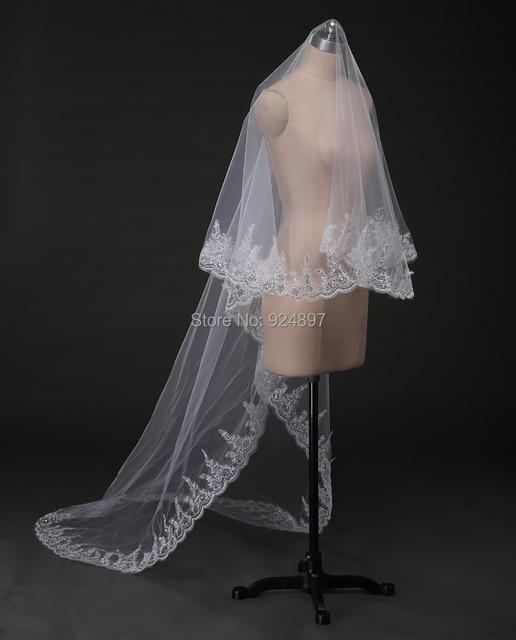 Charming 3 meters Long cathedral wedding veilwith comb sequins decoration Lace wedding veils velos de novia