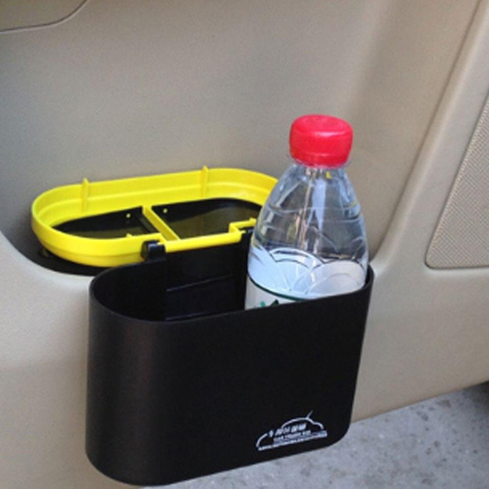 Creative Hanging Flip Cover Car Mini Trash Can Garbage Dust Dustbin Box Case Holder Hook Plastic Rubbish Bucket Car Accessories