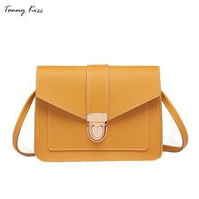 59169ce7e7ce Solid crossbody bags for women small leather girls shoulder messenger bag  ladies hand bags flap pocket yellow color fashion new