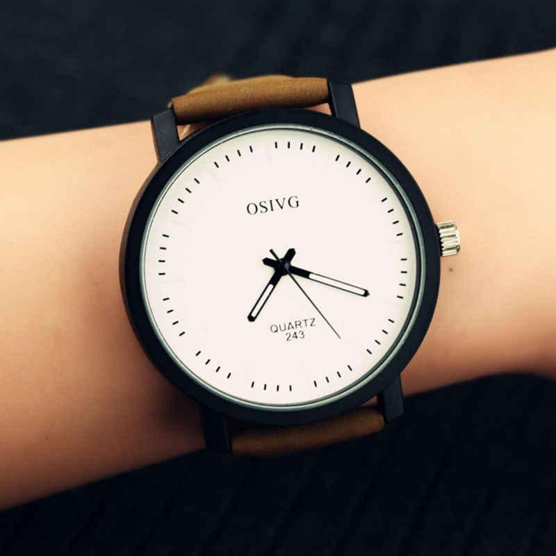 Projektowanie mody miłośników kobiet mężczyźni Unisex skórzany w stylu Vintage zegarek kwarcowy analogowy