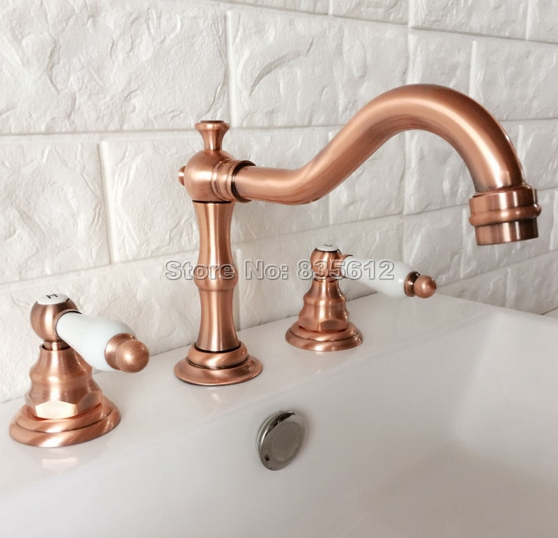 Antique Red Copper Bathroom Widespread Tap Deck Mounted Basin / Sink / Bathtub Faucets Dual Handle Cold & Hot Water Taps Wrg040Antique Red Copper Bathroom Widespread Tap Deck Mounted Basin / Sink / Bathtub Faucets Dual Handle Cold & Hot Water Taps Wrg040