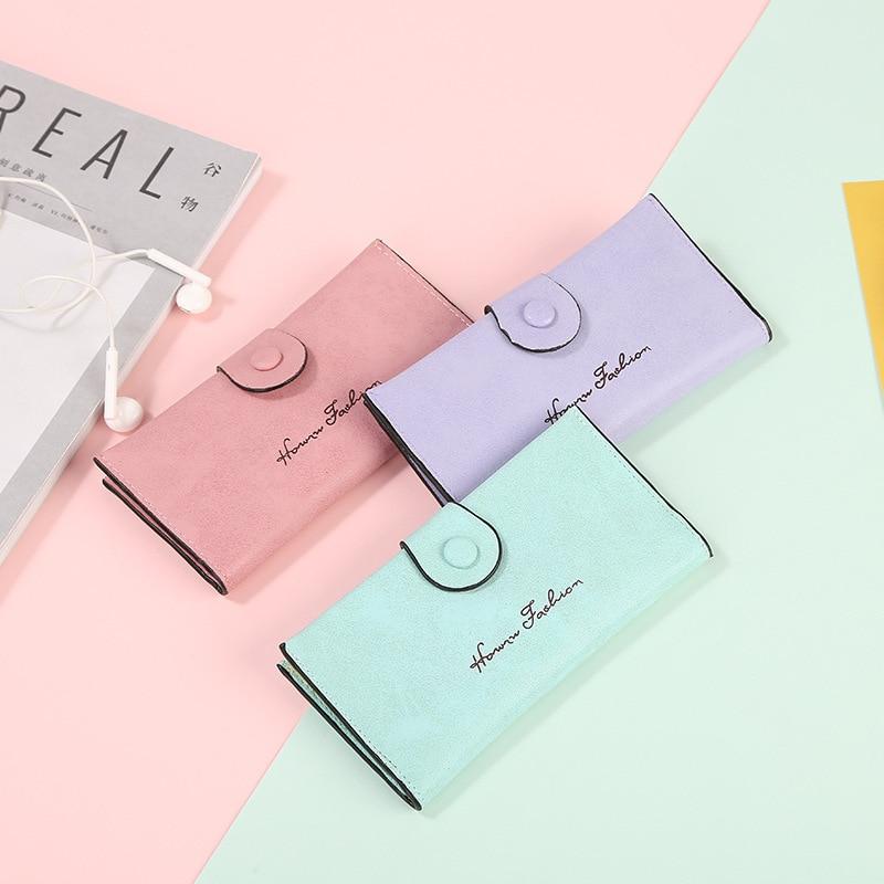 Women's Wallet Solid Leather Hasp Ladies Purses Portfel Damski Cards Holder Feuille Femme Long Clutch Billeteras Para Mujer 2019