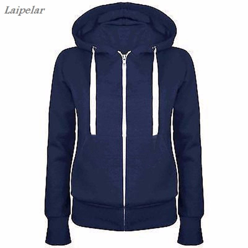 2018 Fashion Women Solid Color Sweatshirts  Zipper Hooded Long Sleeve Ladies Hoodie Laipelar
