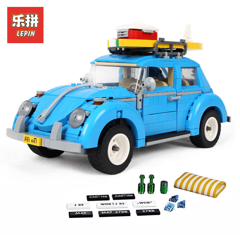 New LEPIN 21003 Creator Series City Car Beetle model Building  Blocks Compatible LegoINGly 10252  Blue Technic children toy gift lepin 02012 city deepwater exploration vessel 60095 building blocks policeman toys children compatible with lego gift kid sets