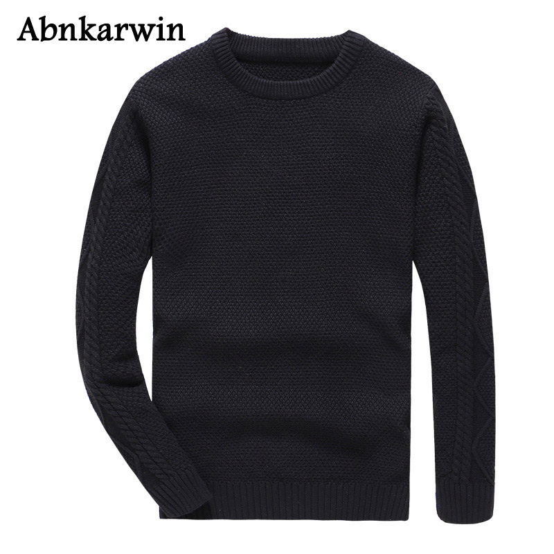 Men Plus 3XL Solid O-Neck Sweater Spring Autumn New Cotton Knit Pullover Sweaters Boys High Quality Clothing 2018