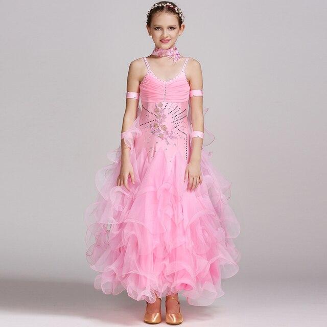 Бальные танцы платья для детей Современная Танцы костюмы для девочки бальных танцев конкуренции платья Бальные платья вальс