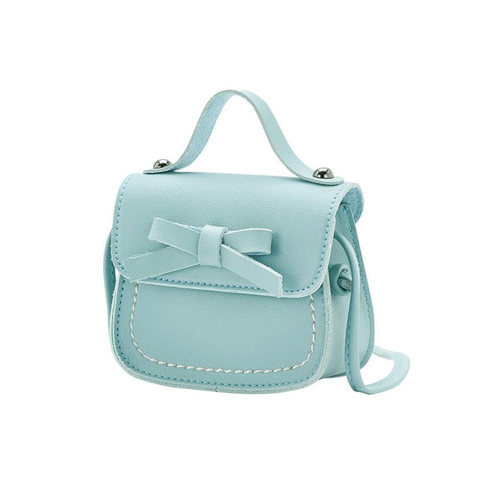 Новинка, брендовые сумки-мессенджеры для малышей, сумки на плечо для девочек, сумки на плечо для принцесс, однотонные кошельки с бантиком для принцесс - Цвет: Pale blue