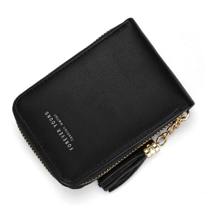 Wallet Card Holder Women Leather Female Small Purse Coins Zipper Tassel Clutch Photo Holder Fashion Famous Brand Designer