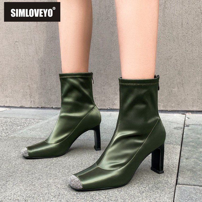SIMLOVEYO Shoes women Round toe Thick high heel Silk zipper Rhinestone toe Sock ankle boots Black Green size 39 Autumn botas