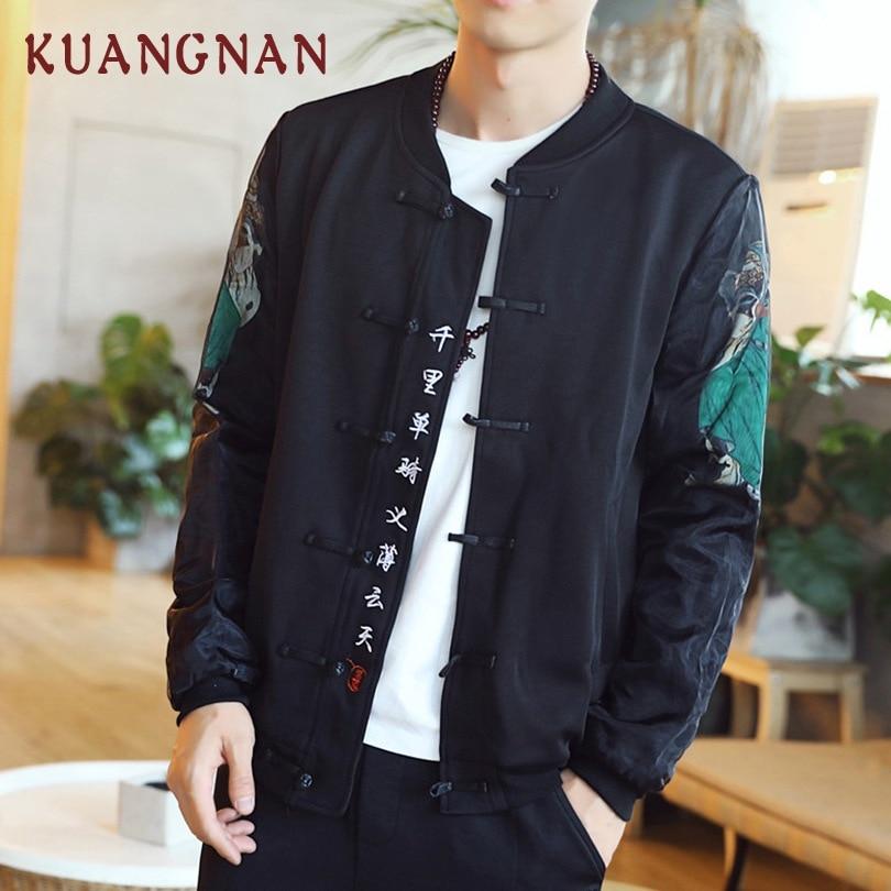 KUANGNAN Chinesischen Stil Männer Jacke Mantel Guan yu und Affe könig Männer Jacke Mantel Schwarz Streetwear Bomber Jacke Männer 2018 winter