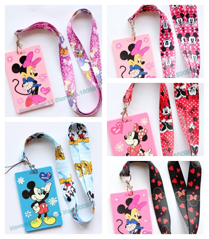 New 1Pcs Mickey Minnie Cartoon Lanyard ID Badge Holder Key Neck Strap Kids Gifts QW-473
